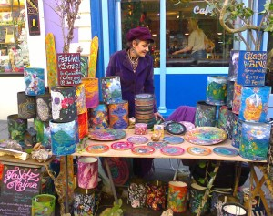 local crafter with stall at market