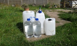 a selection of water containers for an emergency