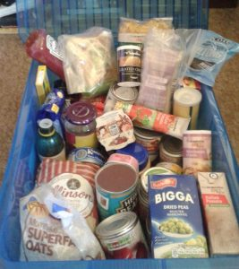 a box of emergency food supplies