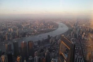 View over Shanghai; note the pollution haze in the background