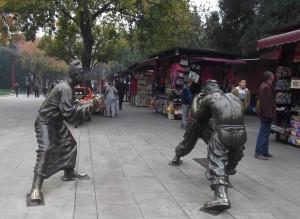 wrestler statues near White Goose Pagoda