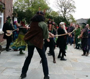 Morris dancing to celebrate Mayday in Glastonbury 2018