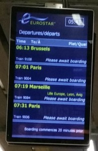 Eurostar destination board