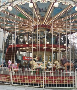 A rare double decker carousel entertains Xmas crowds in Cardiff