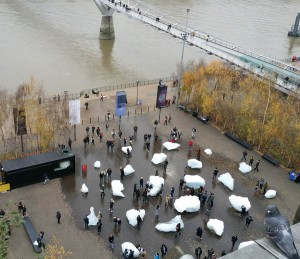 ice watch from the members balcony at the tate modern december 2018