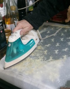 ironing the waxed cloth